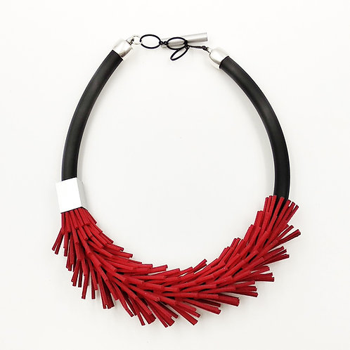 Fashion necklace,with leather fringe detail