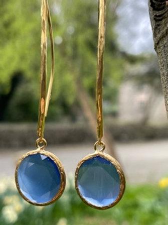 Earrings with Cats eye gemstones.