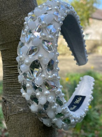 Handmade hairband,with faux pearl and crystal.