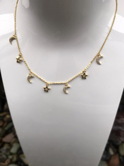 Moon and star necklace.