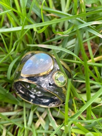 Handmade,unique,Sterling silver ring,18k plated,with rainbow moonstone,and perid