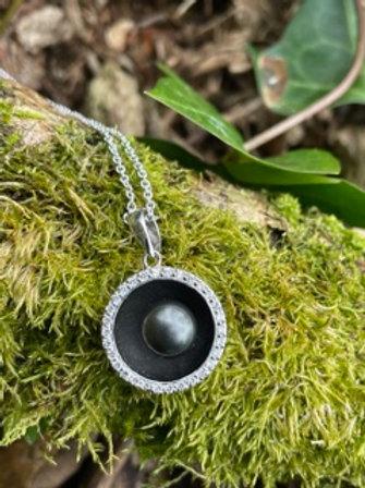 Sterling silver pendant,black pearl,Swarovski crystal.