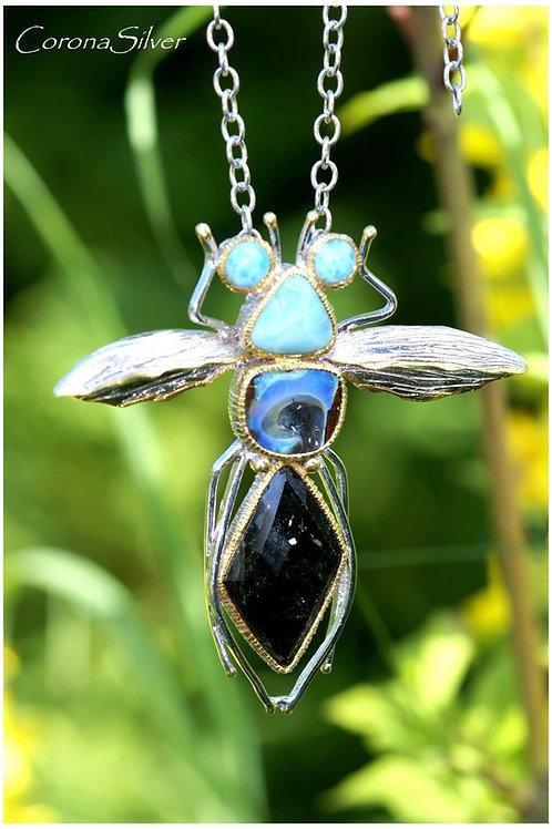 Unique handmade pendant,with semi precious stones,