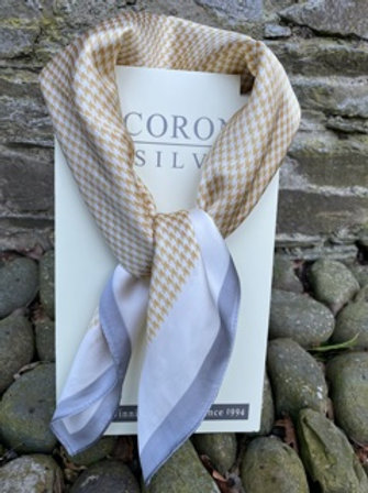 Elegant square silk feel scarf.