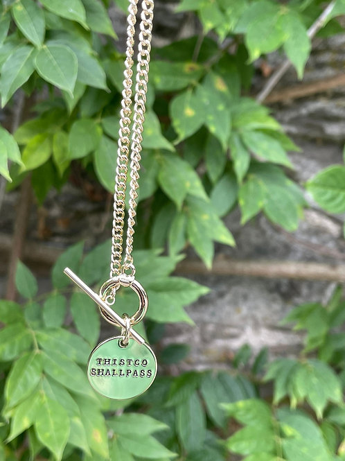 Fashion necklace,Inscription ...This too shall pass