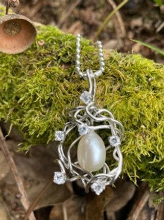 Handmade Sterling silver pendant,on handmade chain.