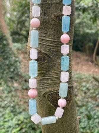 Unique necklace with semi precious stones.Silver clasp.