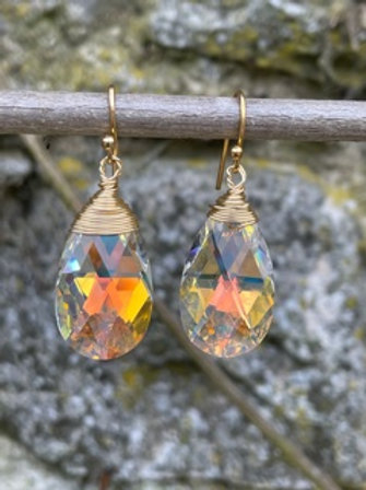 Sterling silver earrings,gold plated,with Swarovski.