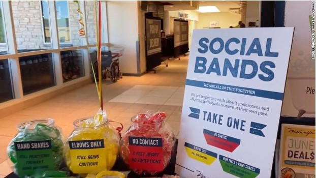 Social distancing coloured wristbands