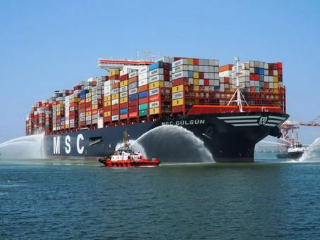 O maior porta-contentores do mundo tem 23 mil TEU: o MSC Gülsün já foi entregue