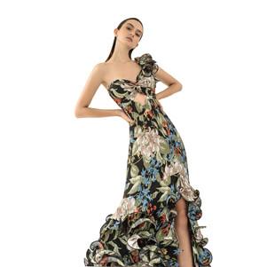 Georgia dress in pleated silk fabric