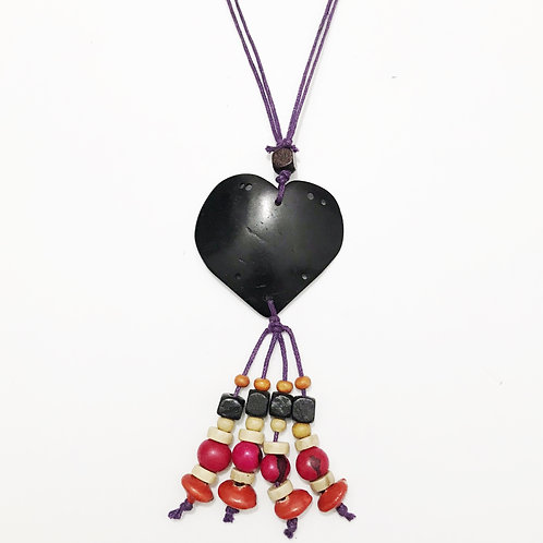 Necklace - Coconut & Seeds - Heart 1
