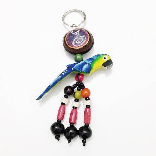 Keychain - Wood & Seeds - Amazonas Blue Parrot