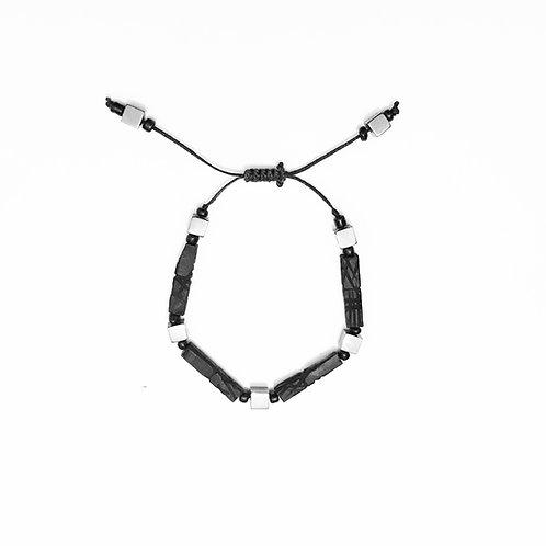 Bracelet - Jet Stone & Hematite - Long Beads