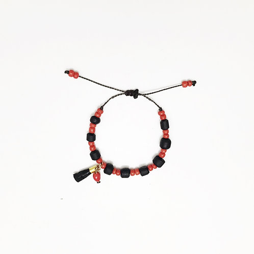 Bracelet - Jet Stone & Red Beads - Small Pendant for Kids