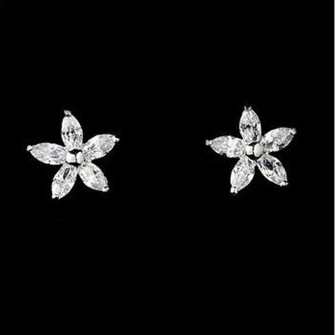 """Boucles d'oreilles fleurs en zircon """"Manel"""""""