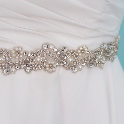 """Ceinture de mariage en perles et cristaux """"Renée"""""""