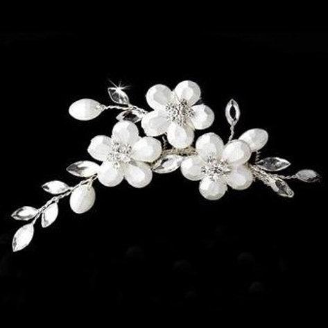 """Peigne avec fleurs et strass  """"Flora"""""""