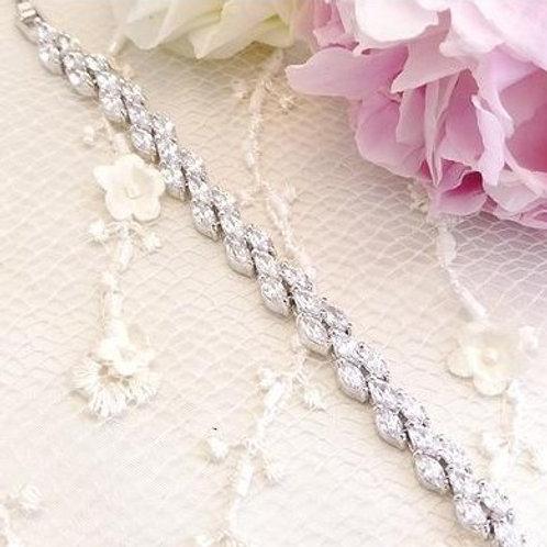 """Bracelet en plaqué or blanc """"Marquise"""""""