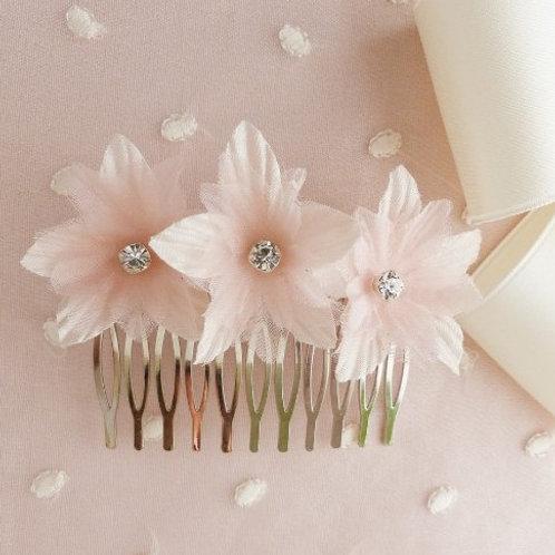 Peigne avec fleurs en soie et cristaux Swarovski