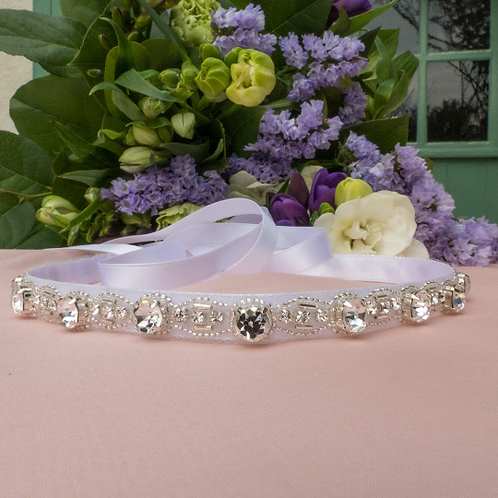 Fine ceinture de mariage avec cristaux Swarovski