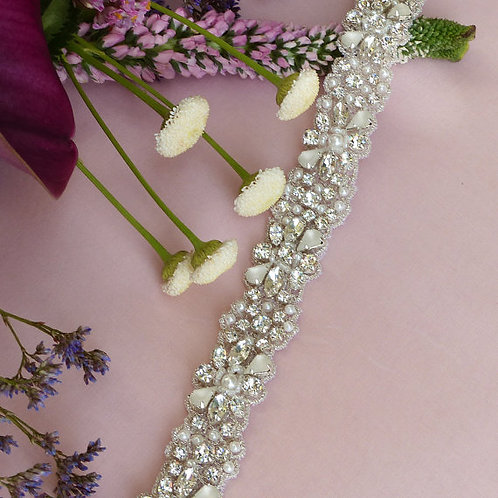Ceinture de mariage floral en cristaux Swarovski