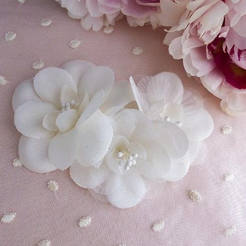 Peigne / barette avec fleur en soie