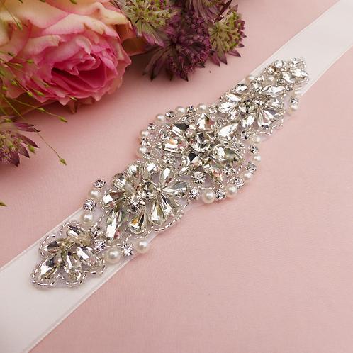 Ceinture de mariage en cristaux et perles