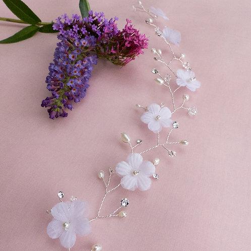 Vigne de cheveux, Tiare, avec fil argent 925 et fleurs blanches