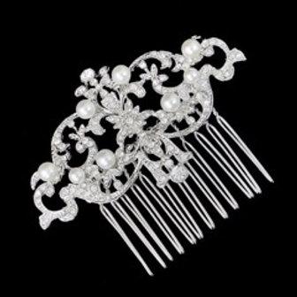 Peigne de cheveux en cristaux et perles