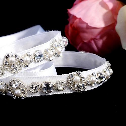 Serre-tête de mariage en perles et cristaux