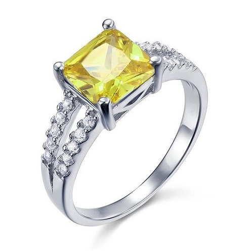 Bague de fiancailles diamant jaune 2 carats