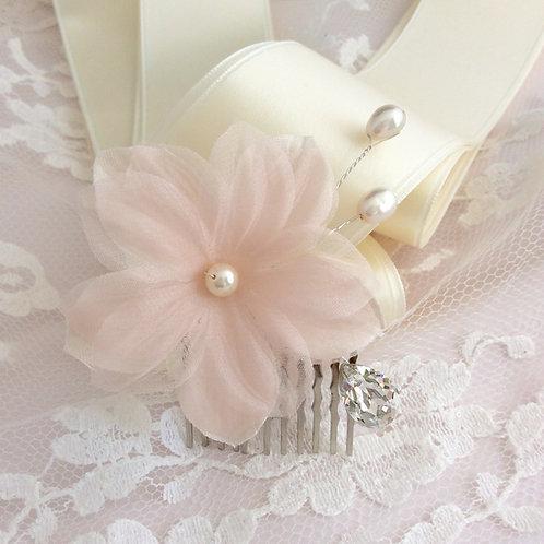 Peigne fleur en soie