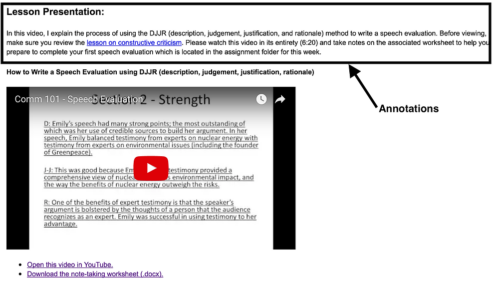 Example showing where to place text annotations (above the video iframe).
