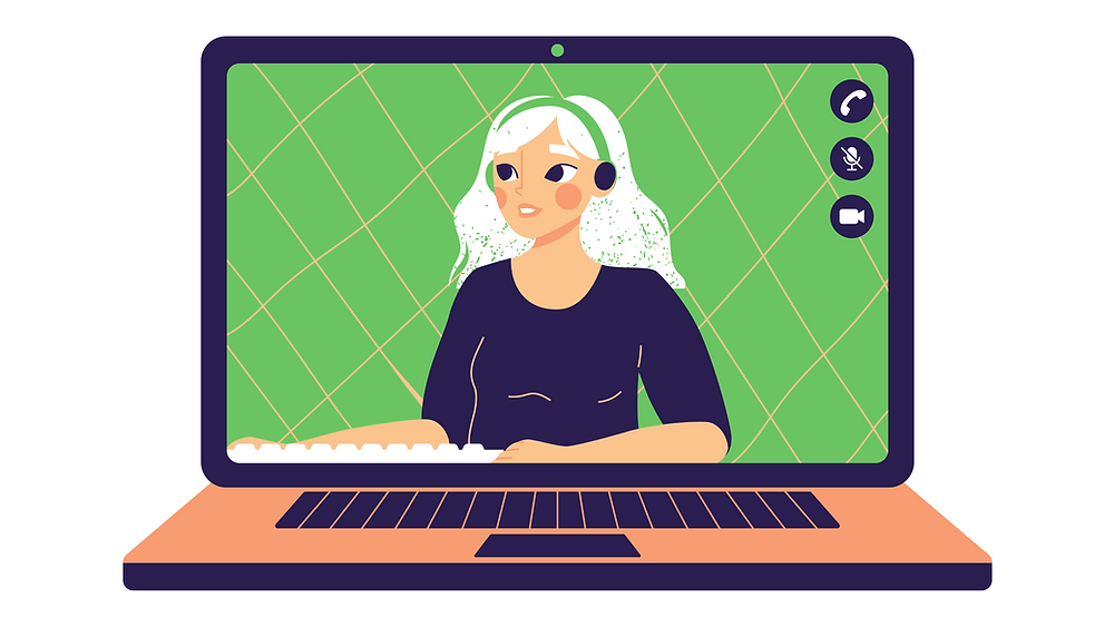 Illustrated laptop featuring the video feed of a person typing and wearing a headset
