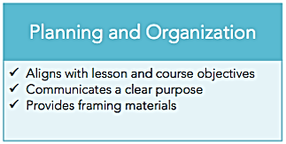 Planning and organization: aligns with lesson and course objectives; communicates a clear purpose; provides framing materials