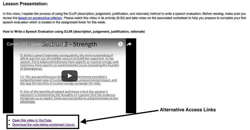 Example of alternative access links (figure captions)