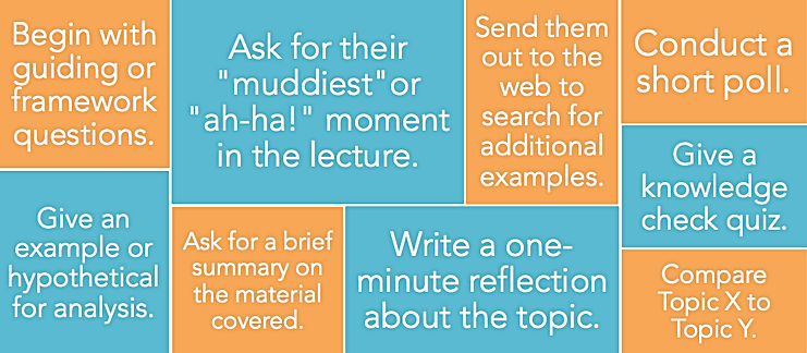 """Examples of active learning activities: begin with guiding or framework questions; give an example or hypothetical for analysis; ask for their """"muddiest"""" or """"ah-ha!"""" moment in the lecture; ask for a brief summary on the material covered; send them out to the web to search for additional examples; write a one-minute reflection about the topic; conduct a short poll; give a knowledge check quiz; compare topic x to topic y"""