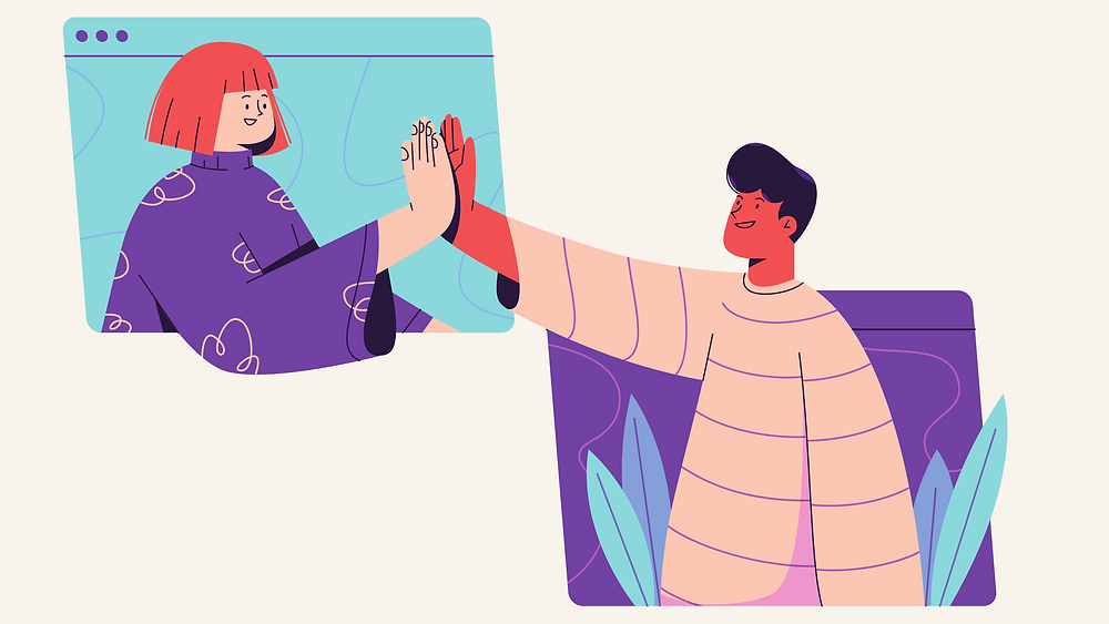 Illustration of two people giving a high-five from different computer screens