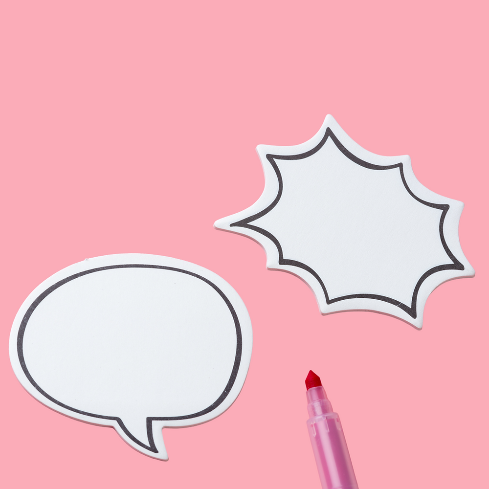 Two speech bubbles on a pink background with a marker between them