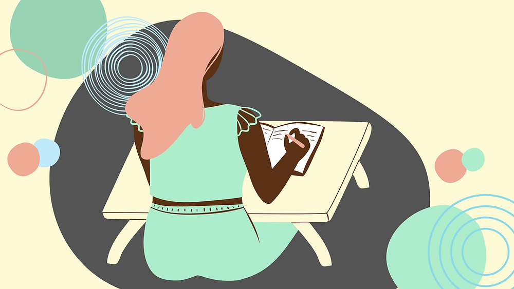 Illustrated woman sitting on the floor in front of desk writing in a journal