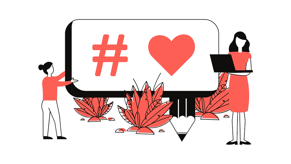Speech bubble with hastag heart next to two illustrated figures