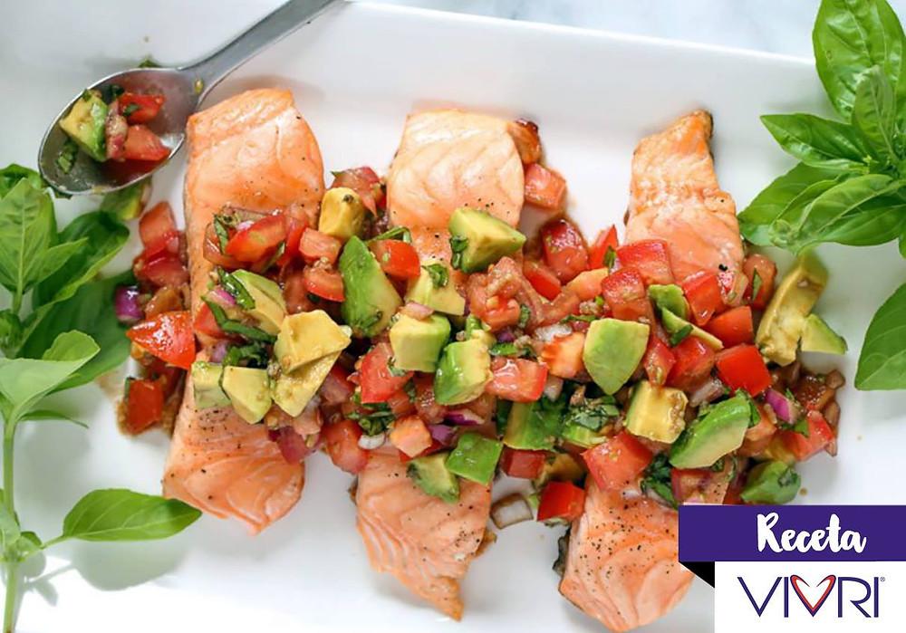 receta especial de salmón healthy o saludable, ideal para reto fitness de vivri