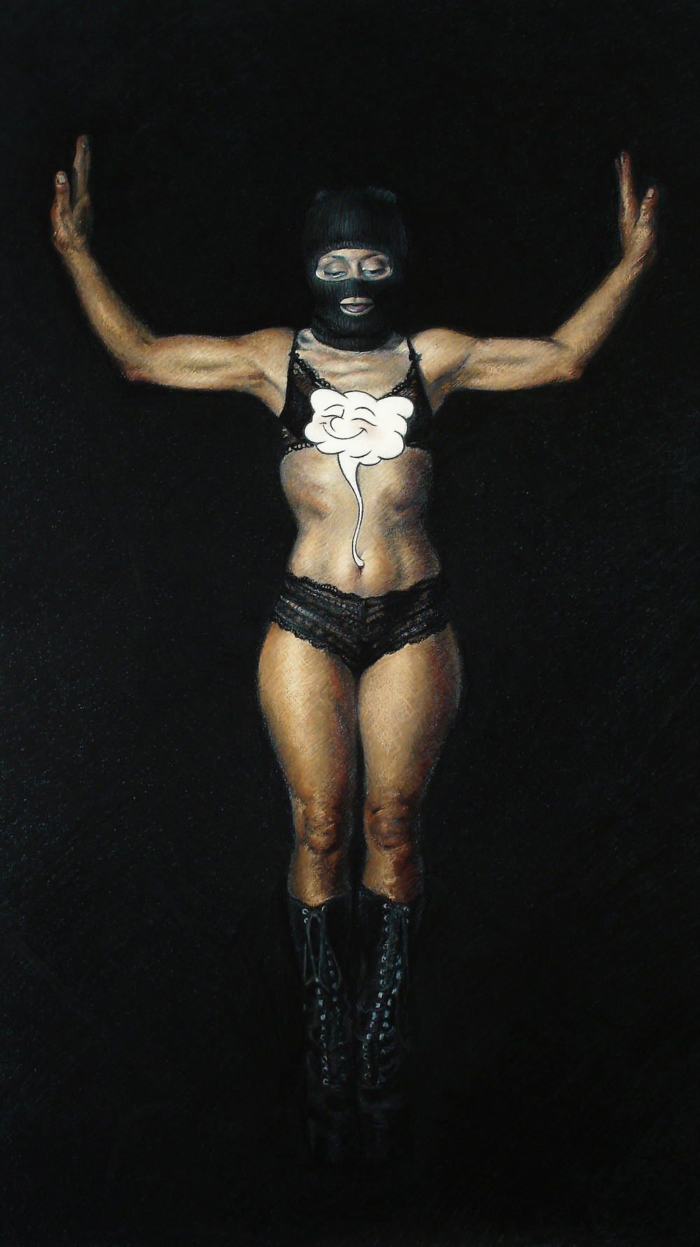 The Descension is a pastel drawing by Isis Rodriguez depicting a masked woman descending into darkness with a cartoon.