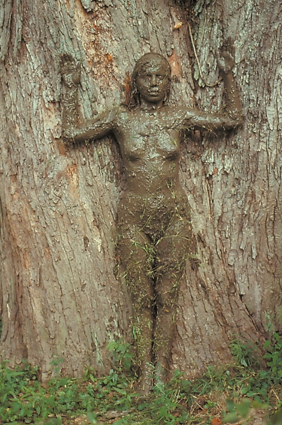 Tree of Life is a performance by Ana Mendieta who covers her body with mud and stands against a tree.