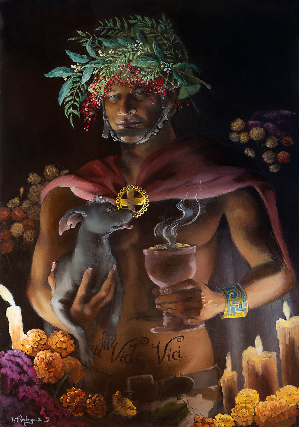 A portrait painting of a spiritual warrior holding a xoloitzcuintle and an incense burner