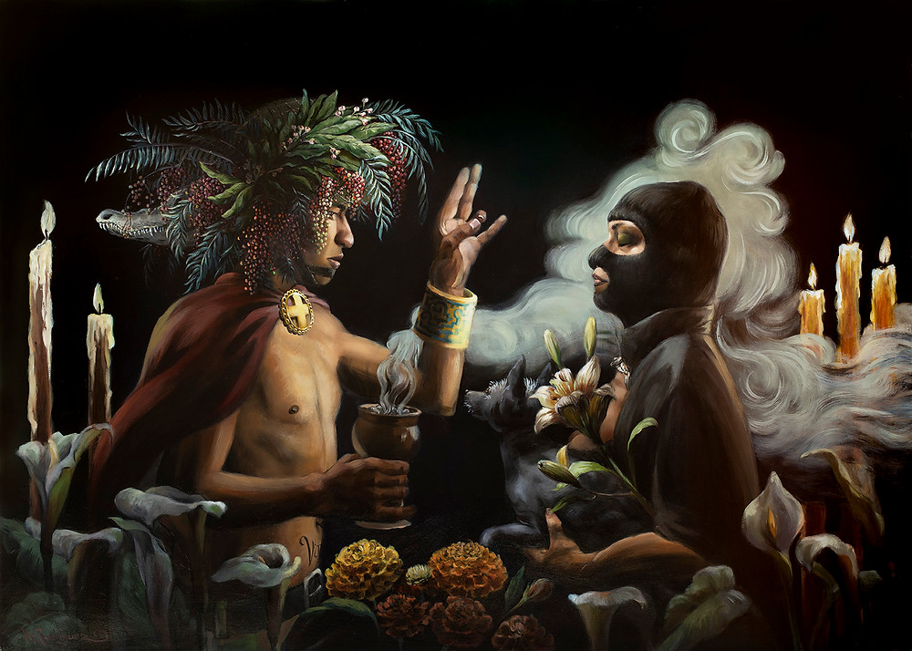 Oil painting depicting a shaman giving a blessing to a masked woman and her xoloitzcuintle.