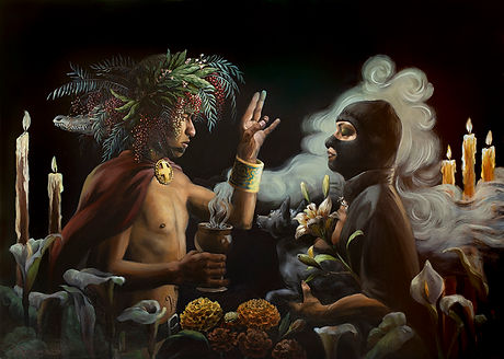 A shaman blessing a masked woman with a xoloitzcuintle