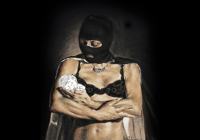 masked woman in lingerie holdin a cartoon