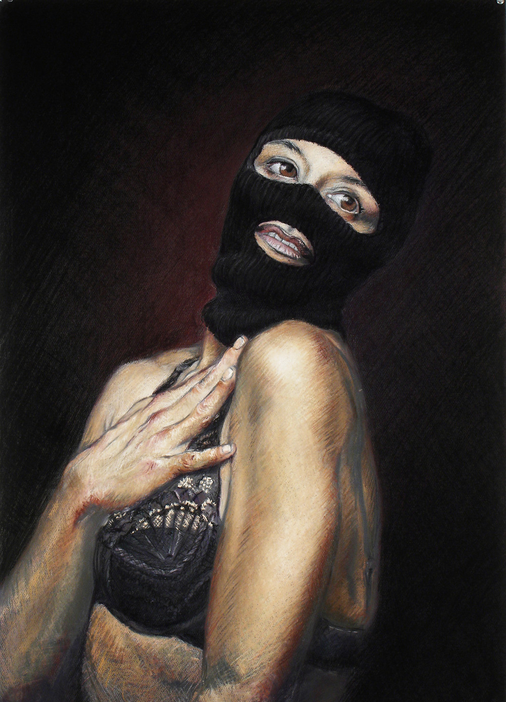 A portrait of a woman wearing lingerie and a ski mask.
